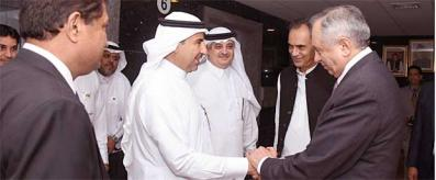 Adviser receiving Saudi Deputy Minister of Energy at BoI